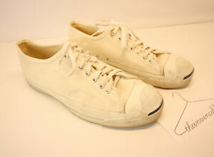 Vtg Vintage Converse Jack Purcell Made in USA Cream White Canvas Shoes sz 11