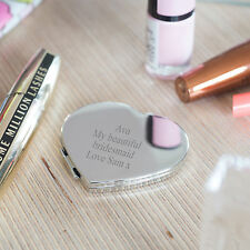 Personalised Heart Compact Mirror, Silver Plated Engraved Compact (OHSO771)