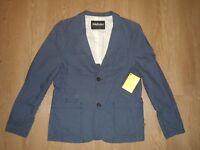 Farah Vintage Women's Blazer Cotton Suit Jacket Coat Blue Casual Size M New