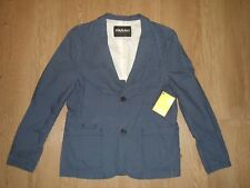 Farah Vintage Women's Blazer Cotton Suit Jacket Coat Blue Casual Size M New
