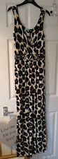 Dickens and Jones White Black Yellow Floral Summer Maxi Dress Size Small Bnwt