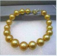"Huge Aaa10-11mm South Sea Gold Pearl Bracelet 7.5-8"" 14k Gold Clasp"