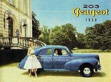 Old Print.  Blue 1958 Peugeot 203 Berline Auto