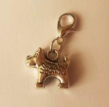 tibetan silver small terrier dog clip on charm