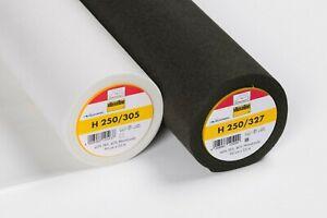 Vlieseline H250 Vilene Iron on Medium Interfacing Non Woven Charcoal White