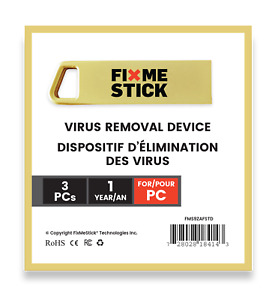 FixMeStick Gold - Virus Removal Device for 3 Windows PCs for 1 Year