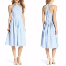 NEW GAL MEETS GLAM Nautical CLAIRE Stripe PLEATED Halter TEA PARTY Midi DRESS 8