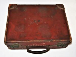 """Vintage ca. 1920-30 Leather Children's Small Brown Suitcase, 10 1/2"""" x 14"""""""