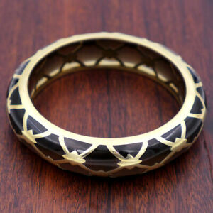Patterned Brass and Resin Bangle by Sean Hill, large size