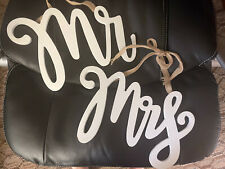 New listing Mr. & Mrs. White Wooden Calligraphy Chair Signs