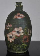 Pot à huile terre cuite décor de fleurs vers 1900 hauteur 40 cm