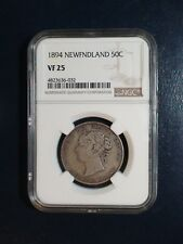 1894 NEWFOUNDLAND Fifty Cents NGC VF25 SILVER 50C Coin PRICED TO SELL!