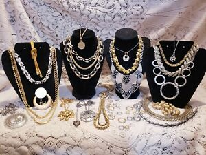 26 Piece Vintage and Modern Mixed Tone Necklace Lot - Trifari, Monet