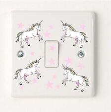 4 Unicorns & Stars Wrap Light Switch Wall Sticker Decal Girl Boy Bedroom Sign