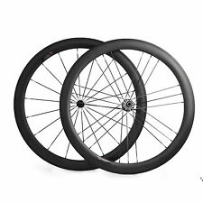 700C 50mm Depth Tubular Carbon Wheels Powerway R36 Hub Road Bike Wheelset G3
