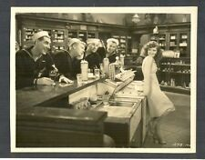 SEXY CLARA BOW IS ADMIRED BY SAILORS -1930 LINEN-BACKED PHOTO- TRUE TO THE NAVY