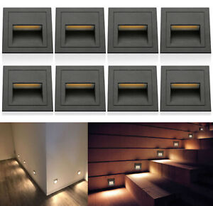 1-10Pcs LED Wall Stair Night Recessed Light Staircase Walkway Path Lamp Lighting