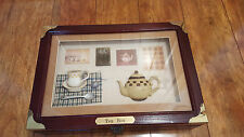 ARISTER Wood Box Tea SHADOW Box 8 Tea Bag Holders Clasp Wooden Kitchen