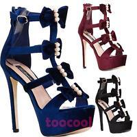 Scarpe donna sandali stivaletti velour velluto gioiello tacchi alti BL7202