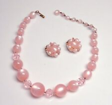 Vintage Signed LISNER Pink Crystal & Moonglow Lucite Bead Necklace & Earrings