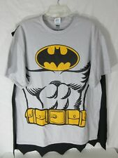 Men's Batman T-Shirt with Cape Size XL Gray Black Gold 100% Preshrunk Cotton