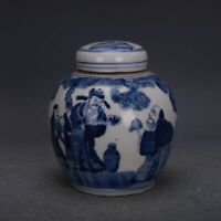 Chinese Old Blue and White Character Porcelain Lid Jar tank Pot