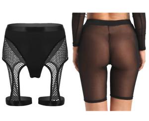 Womens See Through Pants Sheer Mesh Hot Shorts Yoga Runing Legging Zipper Pants