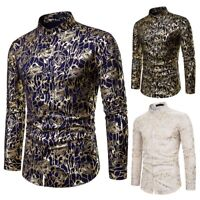 New Men's Slim Fit Rose Flower Gilding Business Shirts Long Sleeve Casual Shirt