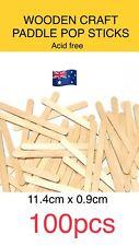100 Wooden Craft Stick Paddle Pop Popsicle Coffee Stirrers Ice Cream Sticks art
