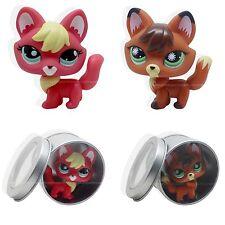 2pcs #807 #2642 Rare Littlest Pet Shop Firefox fox Dog Lps Animal TOY