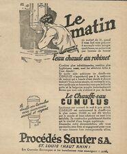 W3134 Procèdès Sauter - Le Chauffe eau cumulus - Pubblicità 1928 - Advertising