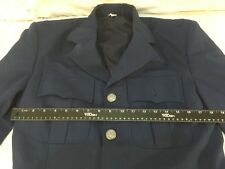 Mans USAF Air Force Blue 38 XLong Poly Wool Blend Four Button Uniform Dress Coat