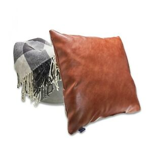 Faux Leather Pillow Cover - 4 Pack