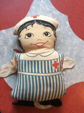 "Cute, 19"" antique red cross cloth nurse doll Usa,1930s"