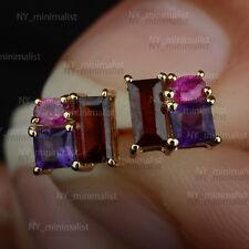 Genuine Amethyst, Ruby & Garnet Gemstone 14K Solid Gold Cluster Stud Earrings