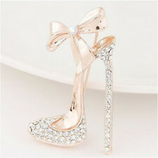 Gold plated High-heeled shoe Brooch Pin Stunning Crystals rhinestone Jewelry F&F