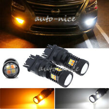 2PCS 3157 LED Switchback Dual Color White Yellow Turn Signal Light Driving Light
