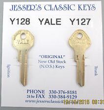 Yale Y128 Y127 Brass PLYMOUTH Service NOS Keys 1938 1939 1940 1941 1942