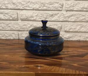 Antique Victorian Victorian Cobalt Blue Glass Bowl w/Lid Silver Overlay