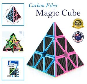 Carbon Fiber Magic Speed Cube Pyraminx Triangle Puzzle Smooth Kids Games Gifts