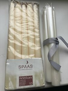 Spaas 13 Tapered Dinner Candles, Unscented, Ivory, New, RRP £25