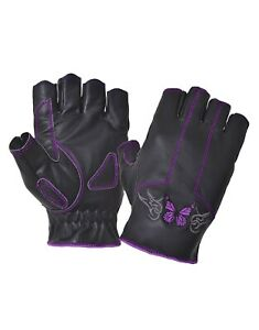 Ladies Fingerless Motorcycle Biker Riding Gloves Butterfly Design Purple / Pink