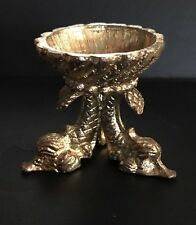 Ornate Antique Style Brass Dolphin Egg or Orb Sphere Stand Holder