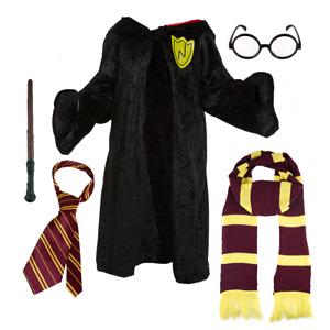Kids Wizard School Costume Deluxe: Boys Girls Fancy Dress Magic Wand Cloak Scarf