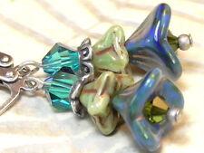 EARRINGS SILVER CZECH GLASS BLUE GREEN PICASSO FLOWER INDICOLITE OLIVINE CRYSTAL