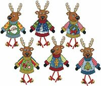 "Design Works Plastic Canvas Ornament Kit 3.5""X4"" 6/Pkg-Ugly Sweater Reindeer (14"
