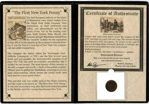 First New York Penny VOC Copper Coin 1700's - COA & History & Holder & Album Inc