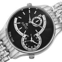 Mens August Steiner AS8141SSB Swiss Quartz Dual Time Silver-tone Bracelet Watch