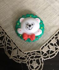 Vintage Christmas Teddy Bear In Wreath Moving Eyes 1-3/4 Brooch Pin Jewelry Vc-1