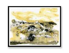 yellow Abstract landscape - ink abstract painting unique gift (Print) ID : 639